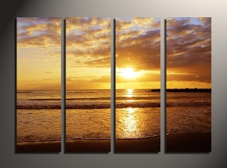 4 piece canvas print, yellow ocean photo canvas, ocean canvas wall art, sea huge pictures, home decor