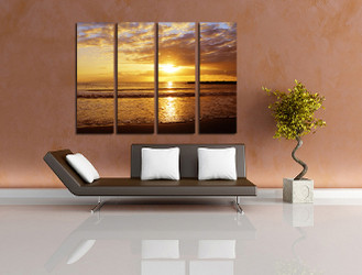 4 piece canvas wall art, living room huge pictures, yellow ocean photo canvas, ocean canvas photography, sea decor