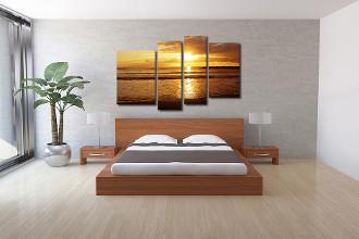 4 piece large pictures, bedroom huge canvas art, yellow ocean multi panel art, ocean decor