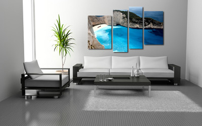 4 piece large pictures, living room art, mountain wall decor, blue canvas wall art, beach huge canvas art