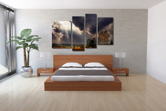 4 piece canvas art prints, bedroom canvas wall art, grey group canvas, cloud multi panel art