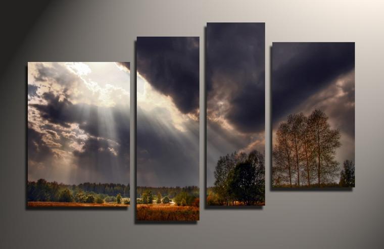 4 piece canvas print, home decor, scenery wall art, grey canvas photography, cloud multi panel canvas
