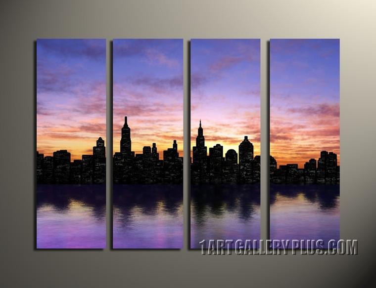4 piece huge canvas print, home decor canvas print, purple large pictures, new york city artwork, cityscape wall decor