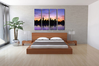 4 piece canvas print, bedroom wall decor, purple art, new york city multi panel canvas, cityscape canvas photography
