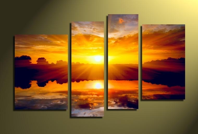 4 piece canvas wall art, home decor, scenery photo canvas, scenery canvas photography, orange scenery art