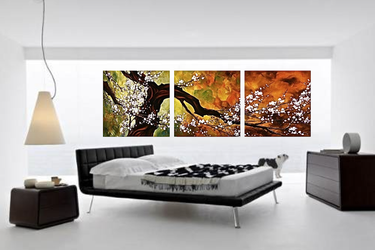 3 piece canvas wall art, bedroom multi panel canvas, scenery photo canvas, orange art,  panoramic canvas art