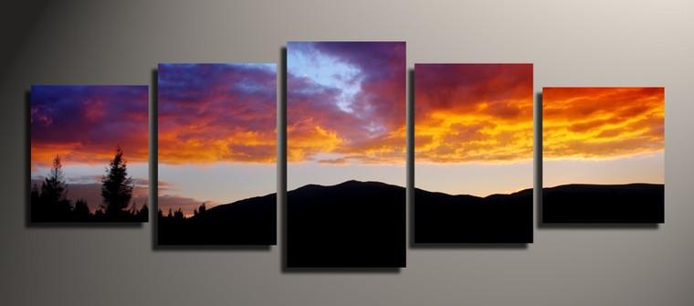 5 piece canvas print, orange large canvas, landscape photo canvas, landscape panoramic group canvas, home decor