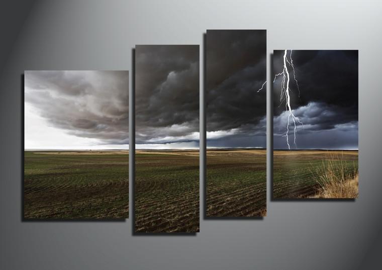 4 piece canvas wall art, home decor, thunderstorm multi panel canvas, scenery artwork, gray canvas photography
