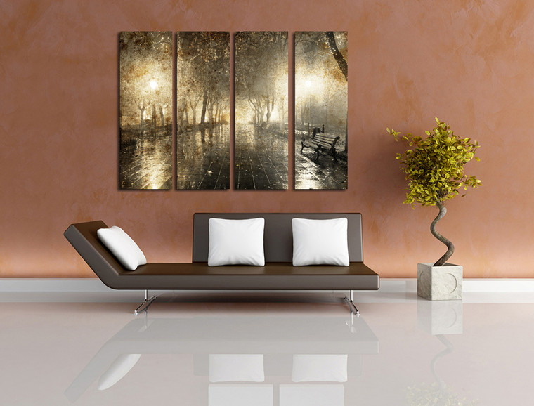 4 piece photo canvas, living room large pictures, yellow scenery canvas print, scenery canvas photography