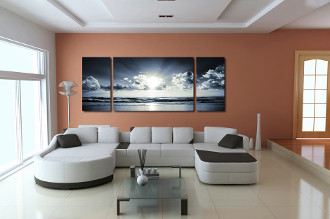 3 piece photo canvas, living room canvas wall art, cloudy sky ocean decor, ocean huge canvas print, ocean decor