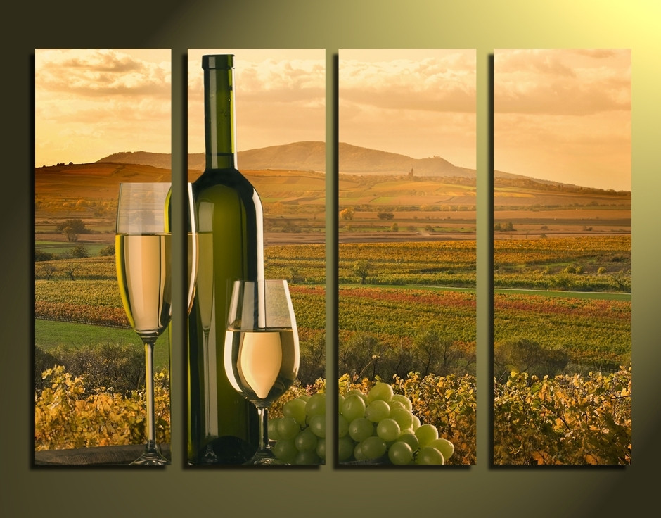4 Piece Canvas Photography White Wine Grapes Wall Art Green Large