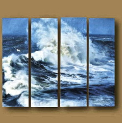 4 piece large canvas, home decor, ocean photo canvas, blue multi panel art, ocean canvas photography