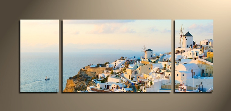 3 piece canvas wall art, home decor, white city art, panoramic multi panel canvas, city canvas photography
