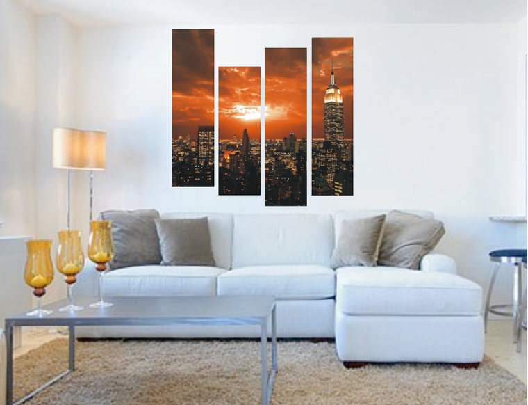 4 piece canvas wall art, living room photo canvas, city art, orange wall decor, sunset canvas photography