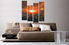 4 piece huge pictures, living room group canvas, city huge canvas art, orange canvas print, sunset art