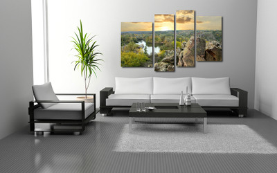 4 piece huge pictures, living room photo canvas, scenery art, green wall decor, mountain canvas wall art