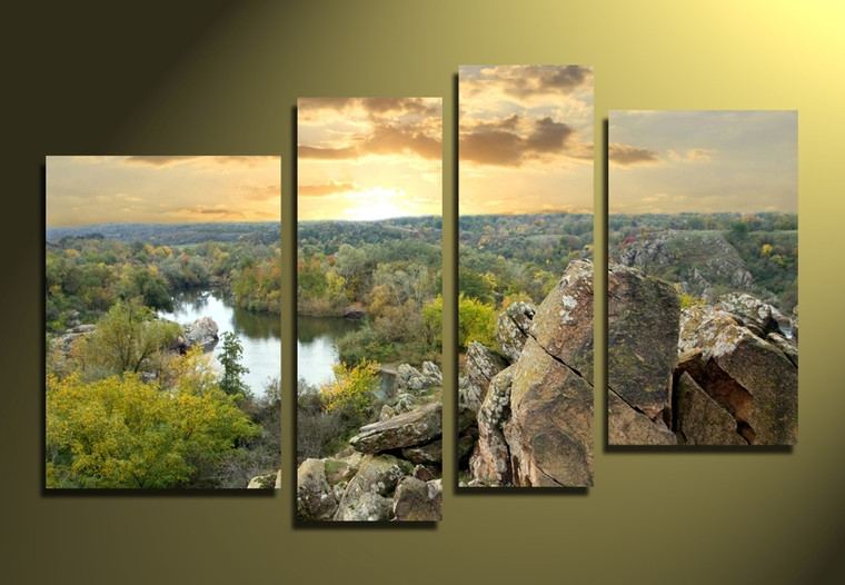 4 piece canvas print, home decor, scenery large pictures, green artwork, mountain canvas photography