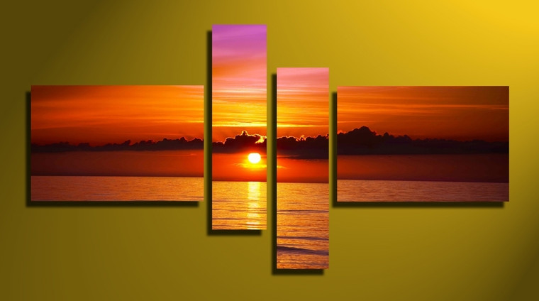 4 piece large canvas, home decor, orange ocean canvas photography, ocean canvas wall art