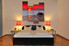 4 piece multi panel art, bedroom canvas wall art, sunset art, ocean huge canvas art, red canvas photography