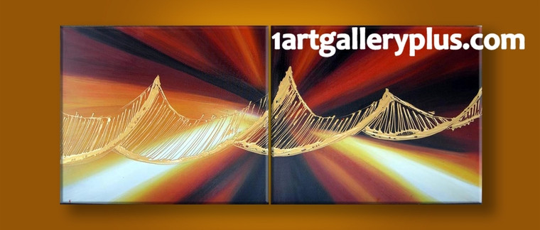 2 piece canvas wall art, home decor, abstract multi panel canvas, orange artwork, panoramic canvas photography