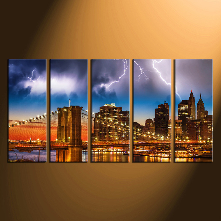 5 piece canvas wall art, home decor, brooklyn bridge artwork, city multi panel canvas, blue huge canvas print