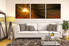 living room art, 3 piece canvas wall art, abstract decor, abstract artwork, panoramic abstract canvas