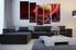5 piece wall art, red landscape multi panel art, landscape artwork, landscape huge large pictures, living room photo canvas