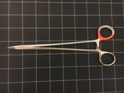 Left side photo of Pilling 34-3020 Stratte Needle Holder , Curved Tip 8""