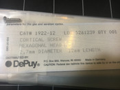 Label view of Depuy 1922-12 Cortical Screw 2.7 mm X 12 mm