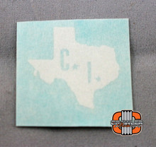 "1x1"" CI scale Texas White Vinyl Transfer Sticker"