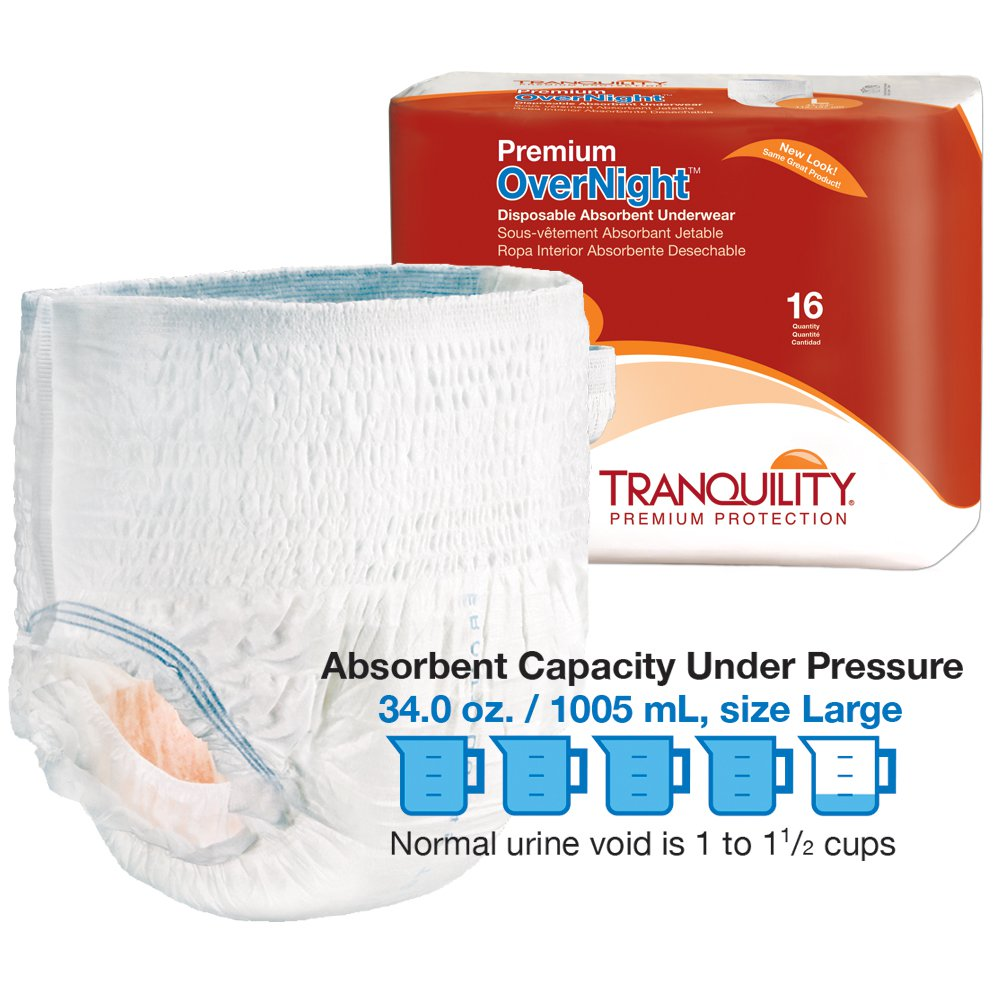 Premium Overnight Disposable Absorbent Underwear Product and Packaging photo