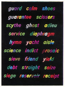 Words in Colour word charts (set of 21)