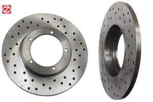 Porsche Disc Brake Rotor,Front,Crossed Drilled Zimmerman Sport, 356C,911 & 912