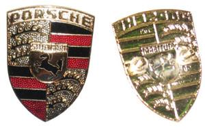 Porsche Hood Crest Emblem,Red/Black Stripes,911,912, '65-'89