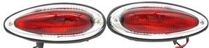 U.S. Teardrop Tail Light Assembly, Red, Set, Porsche 356AT2,356B,356C