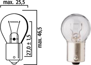 Light Bulb 12 Volt-15Watt, Single, German Made