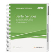 The Coding and Payment Guide for Dental Servicesis your one-stop coding, reimbursement, and documentation resource developed exclusively for dental practices. This comprehensive and easy-to-use guide is updated for 2019 and organized by specialty-specific CDT and CPT® codes. Each code includes its official description and lay description, coding tip, documentation and reimbursement tips, Medicare edits, RVUs and is cross-coded to common ICD-10-CM diagnosis codes to complete the coding process. Getting to the code information you need has never been so easy.  Key Features and Benefits	  •	New—Helpful illustrations. Detailed illustrations for a better understanding of the anatomy related to dental procedures and services.  •	Code icons.Quickly identify new and revised procedure codes related to dental services. •	Quickly find information. All the information you need is provided, including CDT and CPT® full code descriptions, lay descriptions, coding tips, procedure code-specific documentation and reimbursement tips, and commonly associated ICD-10-M diagnosis codes. •	Prevent claim denials and stay up-to-date with Medicare payer information. Review Medicare IOM references containing information linked to CDT, HCPCS Level II, and CPT® codes tailored to dental services, to prepare cleaner claims before submission.  •	Easily determine fees for your practice and reinforce consistency in the charges.Relative valueunits including the practice, work, and malpractice components with total RVUs for non-facility and facilityservices are included. •	CCI edits.Includes CCI edits for CDT, CPT®and HCPCS procedure codes in aspecial section with quarterly updates available online.   CPT® is a registered trademark of the American Medical Association.CDT© 2018American Dental Association.