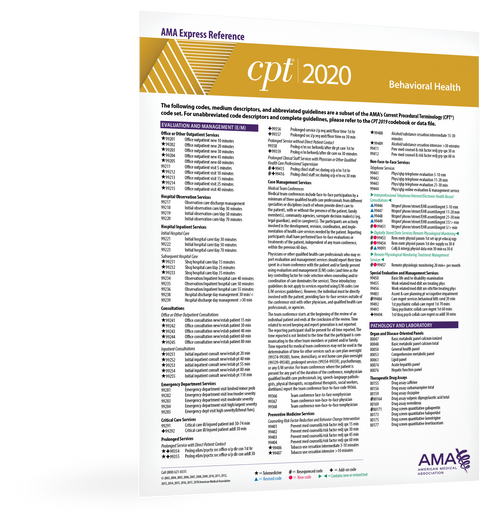 Each double-sided, laminated CPT® 2020 Express Reference coding card is designed to facilitate quick, yet accurate CPT coding by supplying hundreds of the most commonly reported CPT codes per medical specialty.