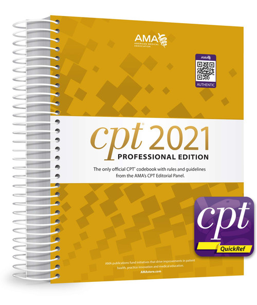 The best print and digital sources for every CPT® coding decision can be found in this new package that includes one spiral-bound copy of CPT® 2021 Professional and free access to all premium content available in the CPT® QuickRef app