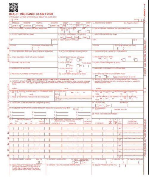 Our form is the official CMS 1500 claim form (new version) 02/12, 500 Count laser. This is the form that non-institutional providers and suppliers should use to bill Medicare, payers and insurance companies,
