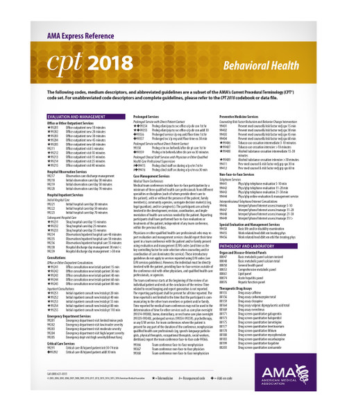 Each double-sided, laminated CPT® 2019 Express Reference coding card is designed to facilitate quick, yet accurate CPT coding by supplying hundreds of the most commonly reported CPT codes per medical specialty. These easy-to-use reference cards allow health care providers and staff members to easily locate a desired code, which can then be referenced in the CPT codebook. A separate card lists all modifiers used with CPT and HCPCS codes.
