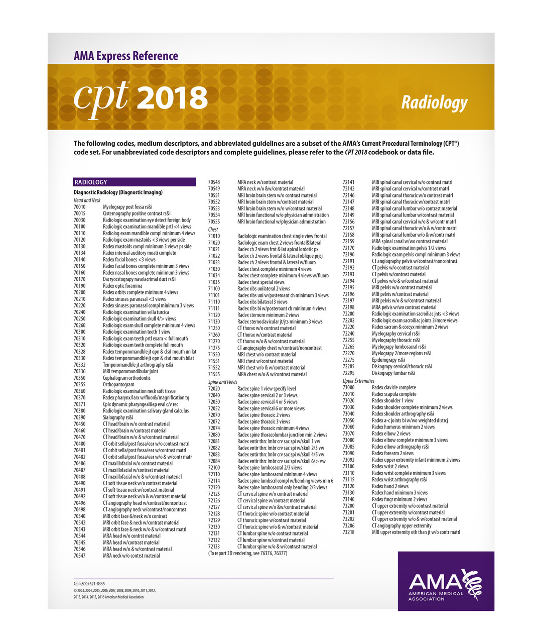 CPT 2019 Express Reference Coding Card: Radiology