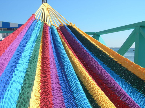 The vibrant colors of a rainbow Costa Rican soft sided hammock! Back in stock!