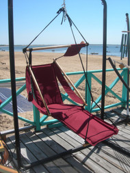 Our floating deck chair in full chaise position!
