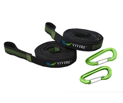 A set of two tree straps and two caribiners.