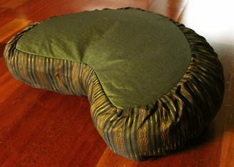 Boon Decor Crescent Zafu Meditation Cushion - Global Weave - Olive Green and Coppery Gold