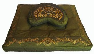 Boon Decor Meditation Pillow Set Crescent Zafu and Zabuton - Olive Green SEE SYMBOLS