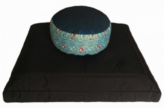 Boon Decor Meditation Cushion Set - Zafu and Black Zabuton - Indochine Teal