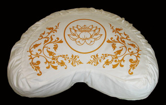 Boon Decor Crescent Meditation Cushion Zafu 100percent Cotton Lotus Enlightenment - Gold White