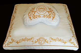 Boon Decor Crescent Meditation Cushion Set Zafu and Zabuton - Lotus or Om - Ivory Purity Collection